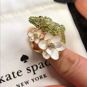 New Kate Spade 12k gold plated alligator ring Sz 7